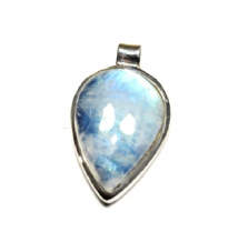 Pearshape Rainbow Moonstone Pendant Silver 'One-Off'